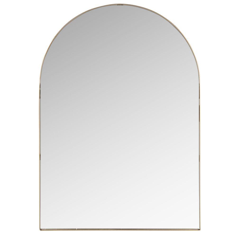 Miroir arrondi en métal doré 50x70