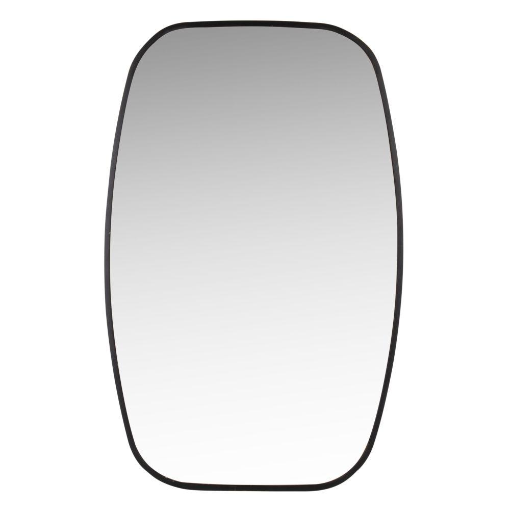 Miroir arrondi en métal noir 46x70