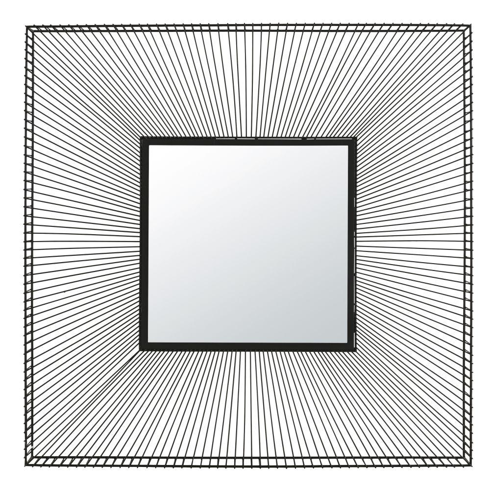 Miroir carré filaire en métal noir 101x101