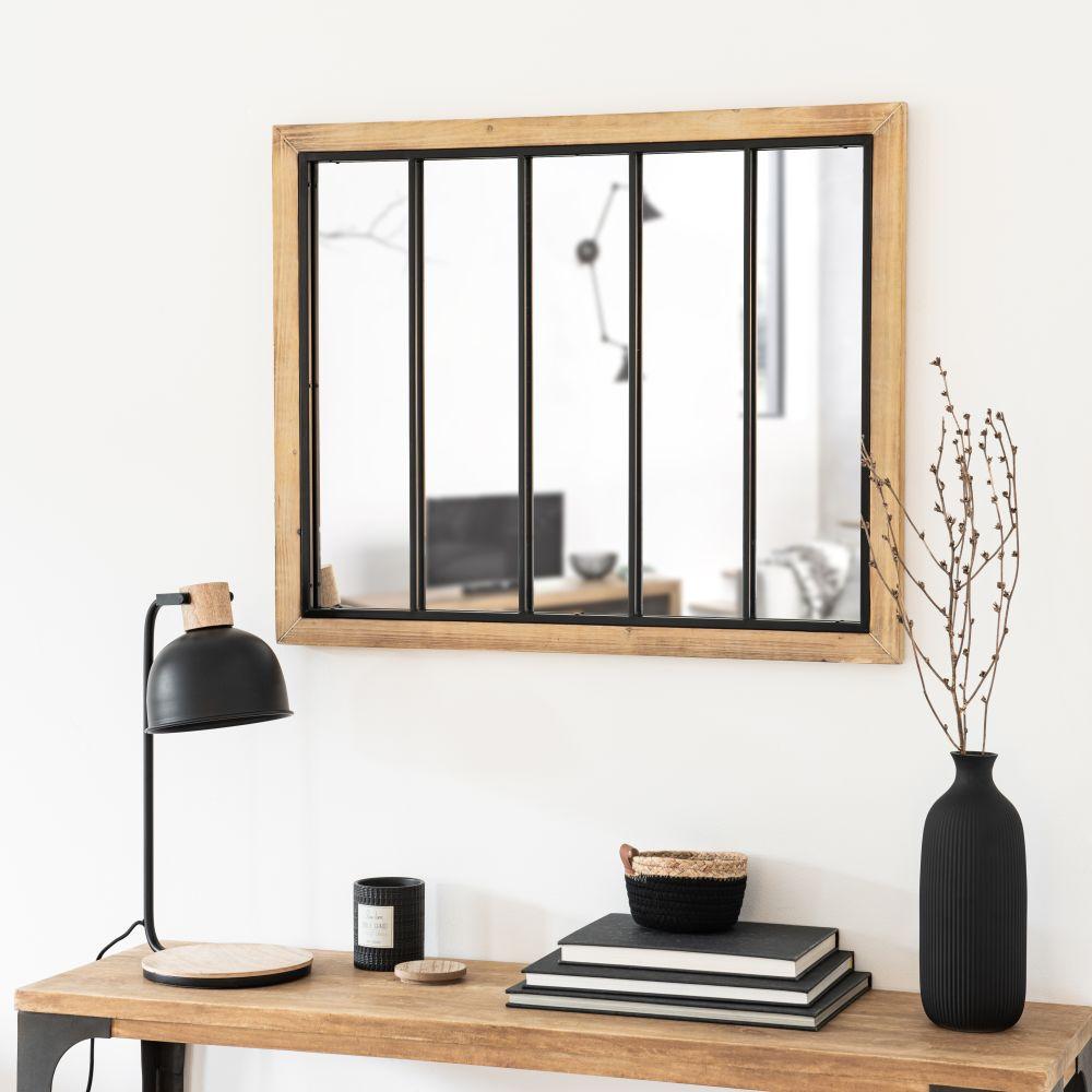Miroir coloris noir et naturel 80x65