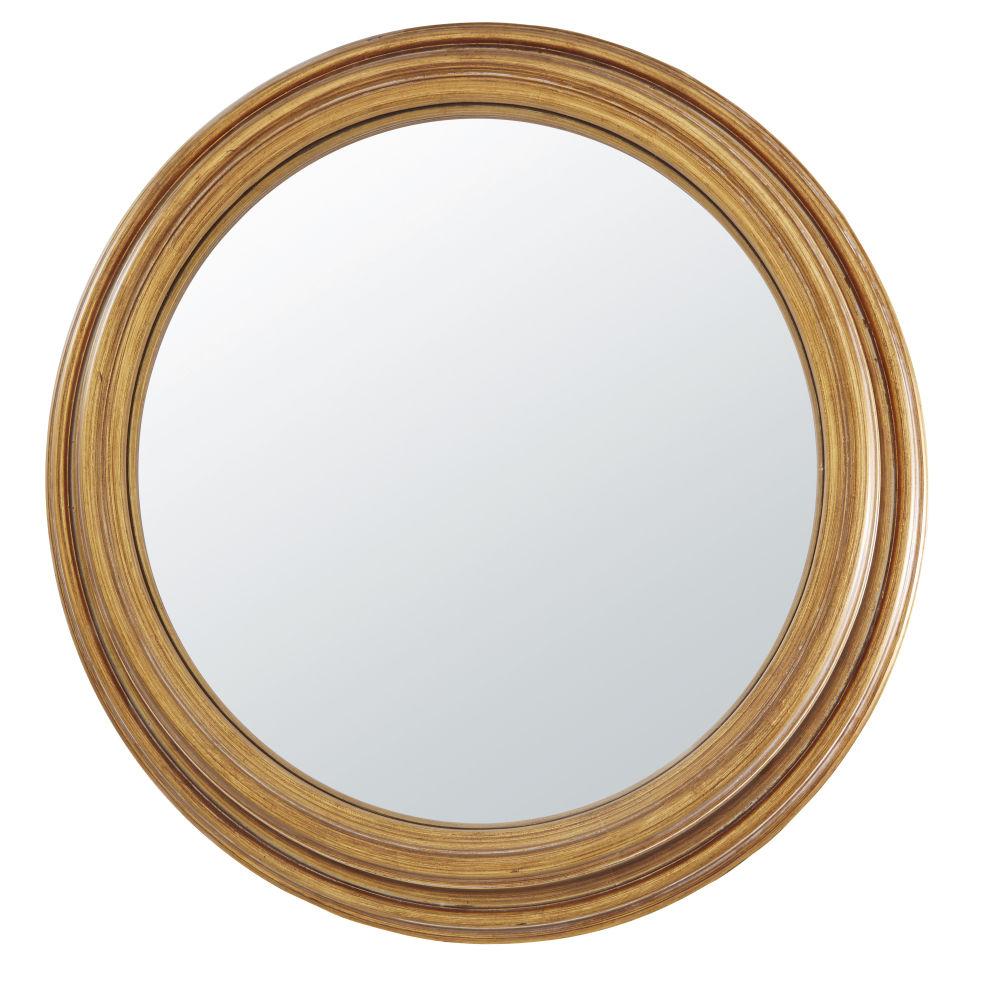 Miroir convexe en paulownia en métal doré effet vieilli D88