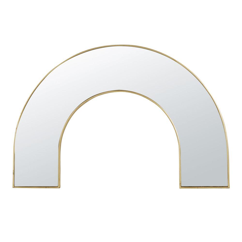 Miroir demi-cercle en métal doré 60x90