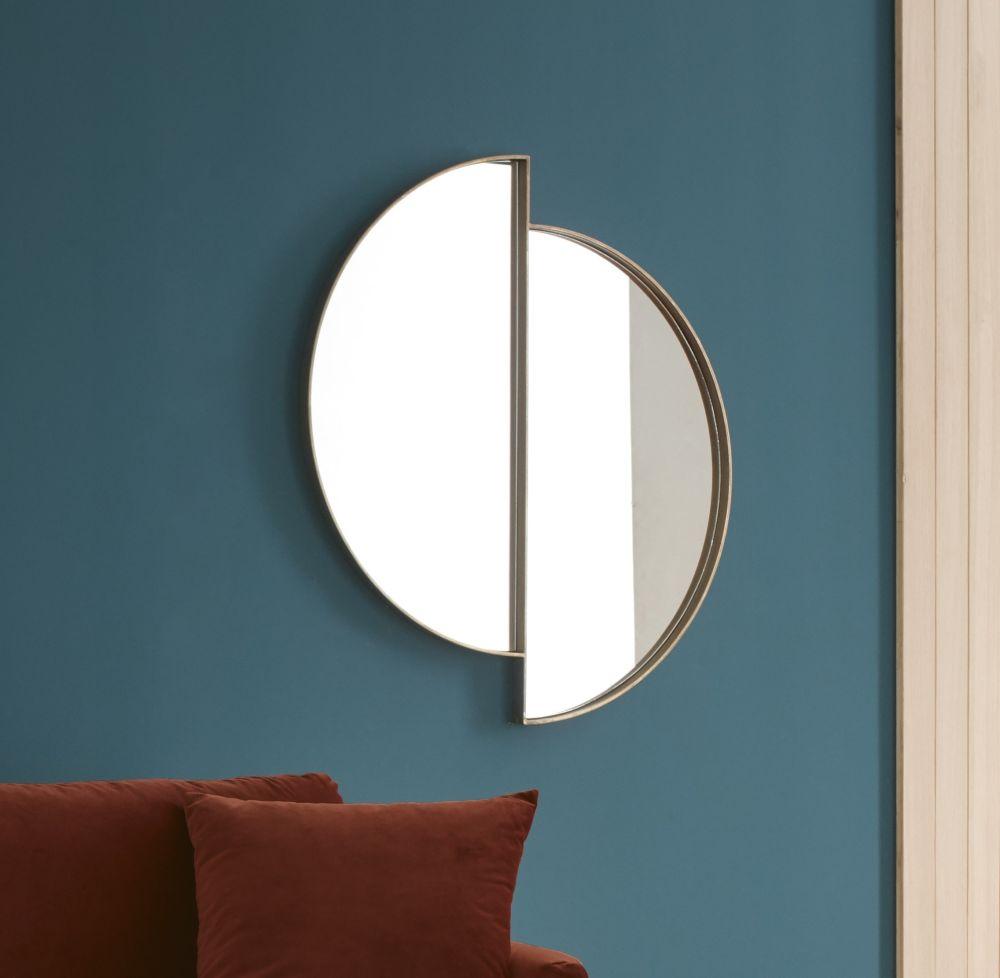 Miroir déstructuré en métal doré 86x97