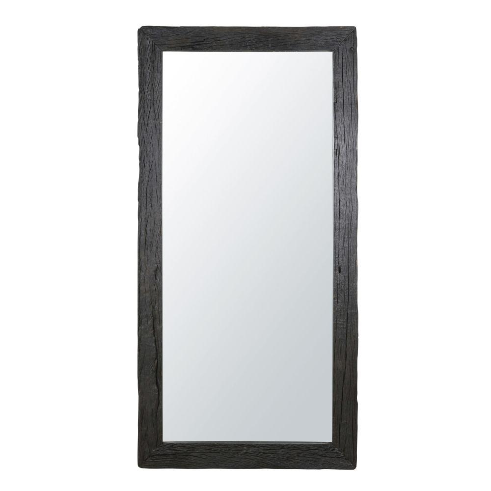 Miroir en bois recyclé brûlé noir 101x201