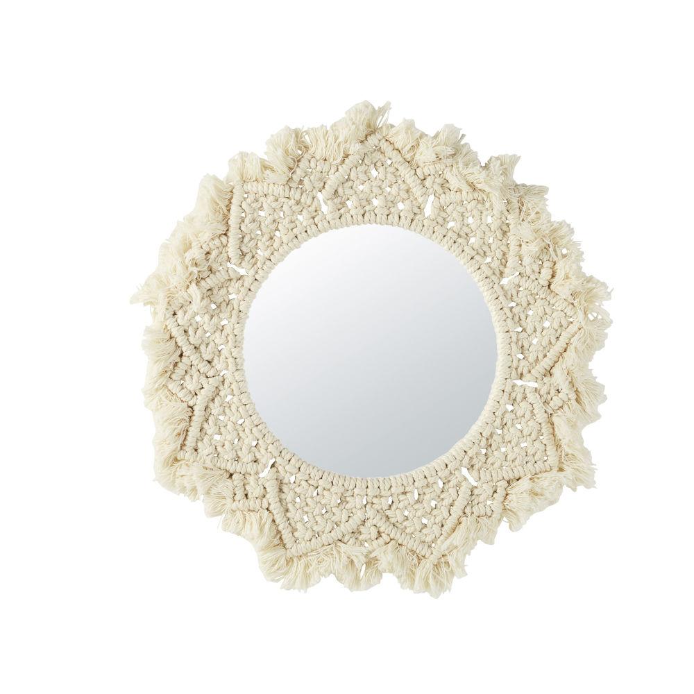 Miroir en coton macramé ivoire D42