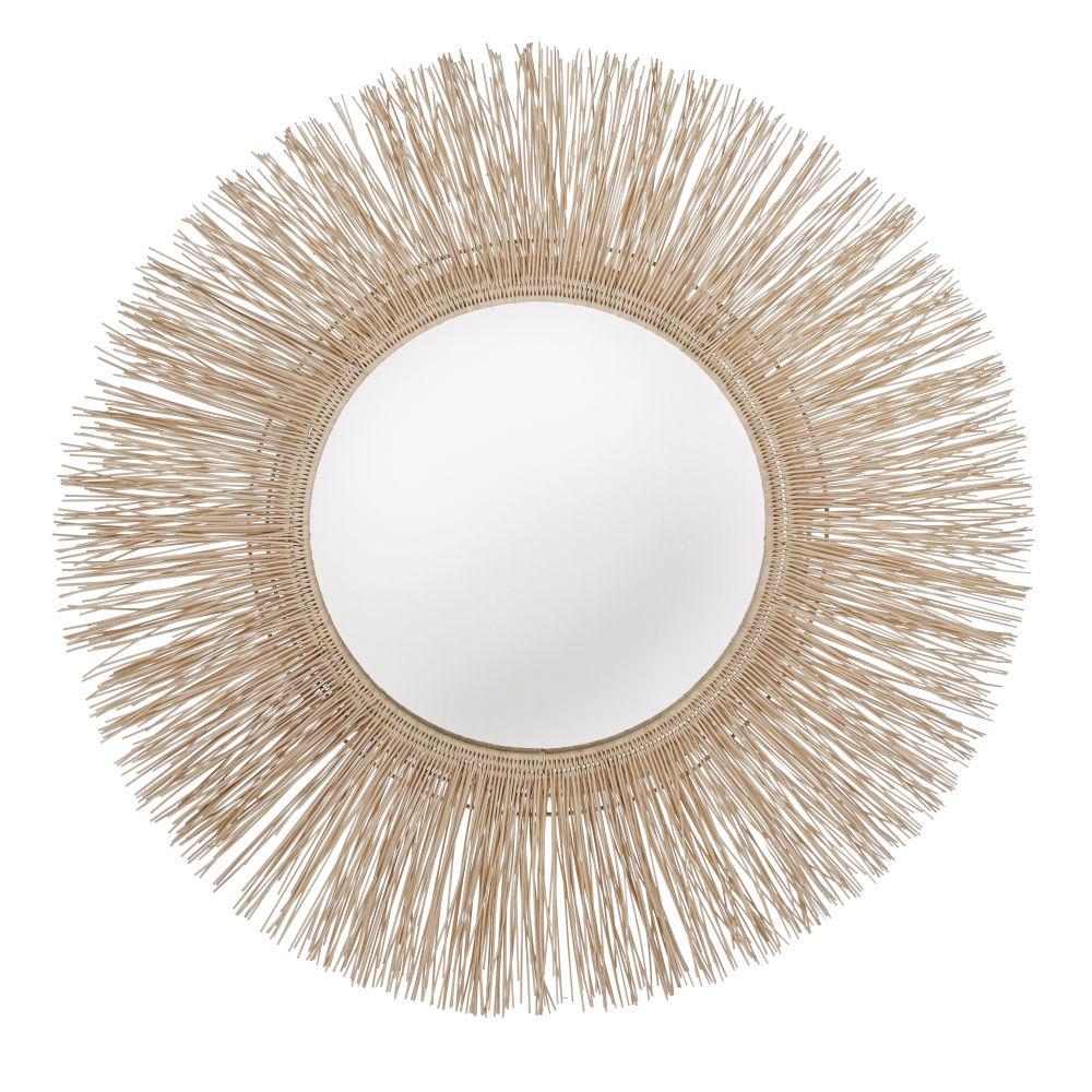 Miroir en fibre de coco et rotin D95