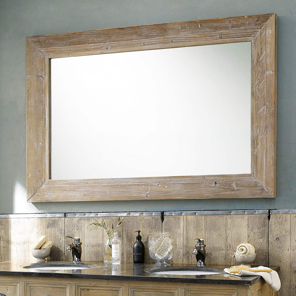 Miroir en hévéa blanchi 100x200