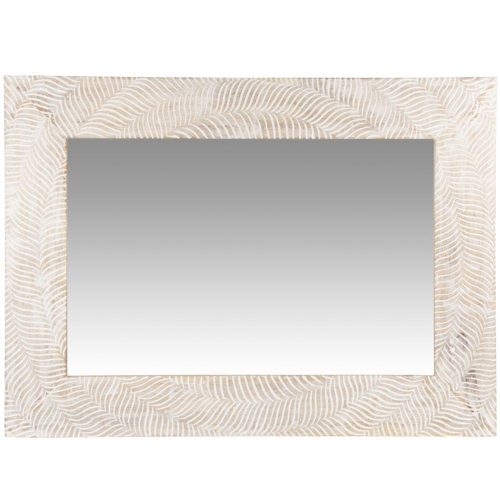 Miroir en manguier beige et blanc 58x79