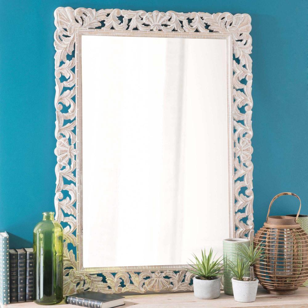 Miroir en manguier blanchi 79x110