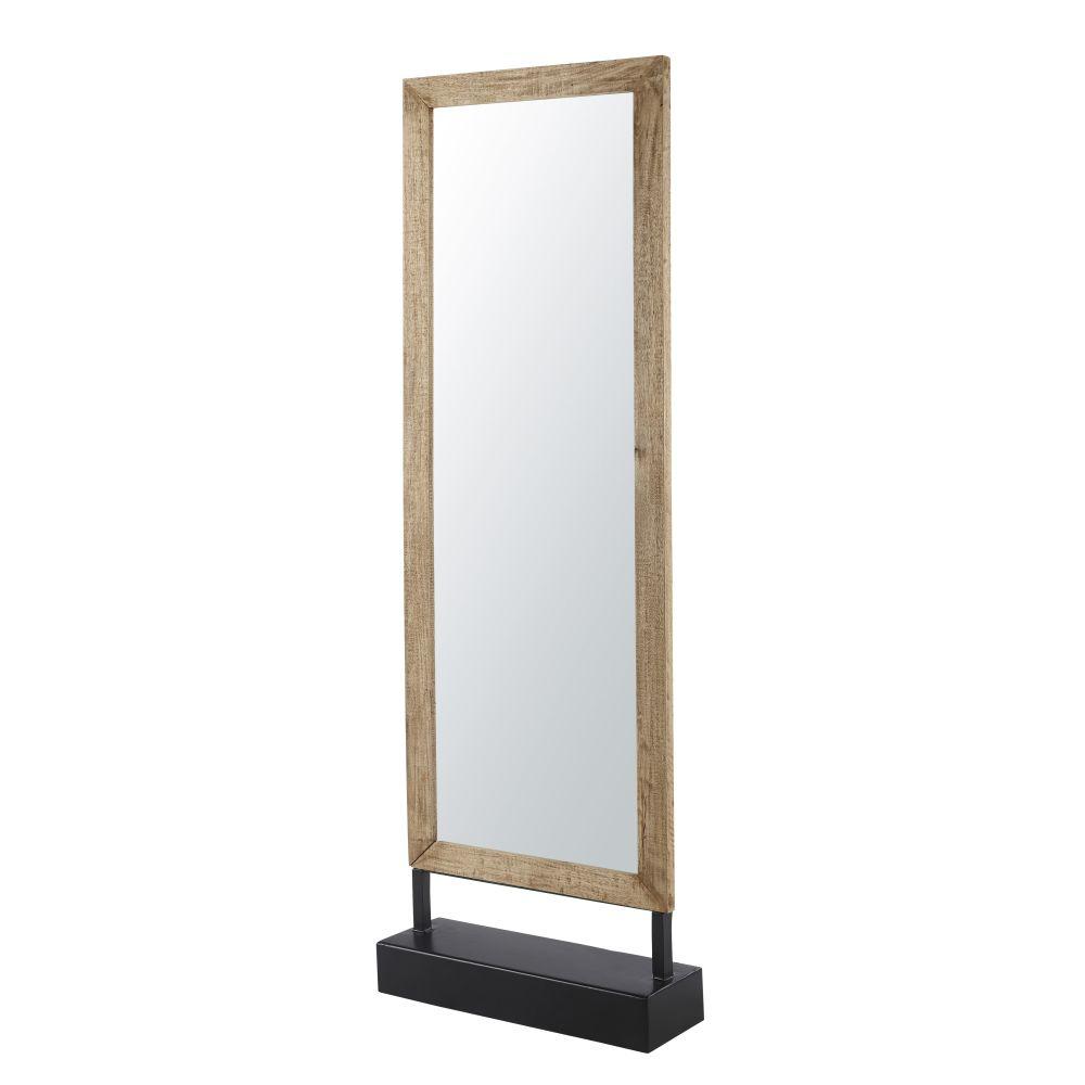 Miroir en manguier et métal noir 178x57