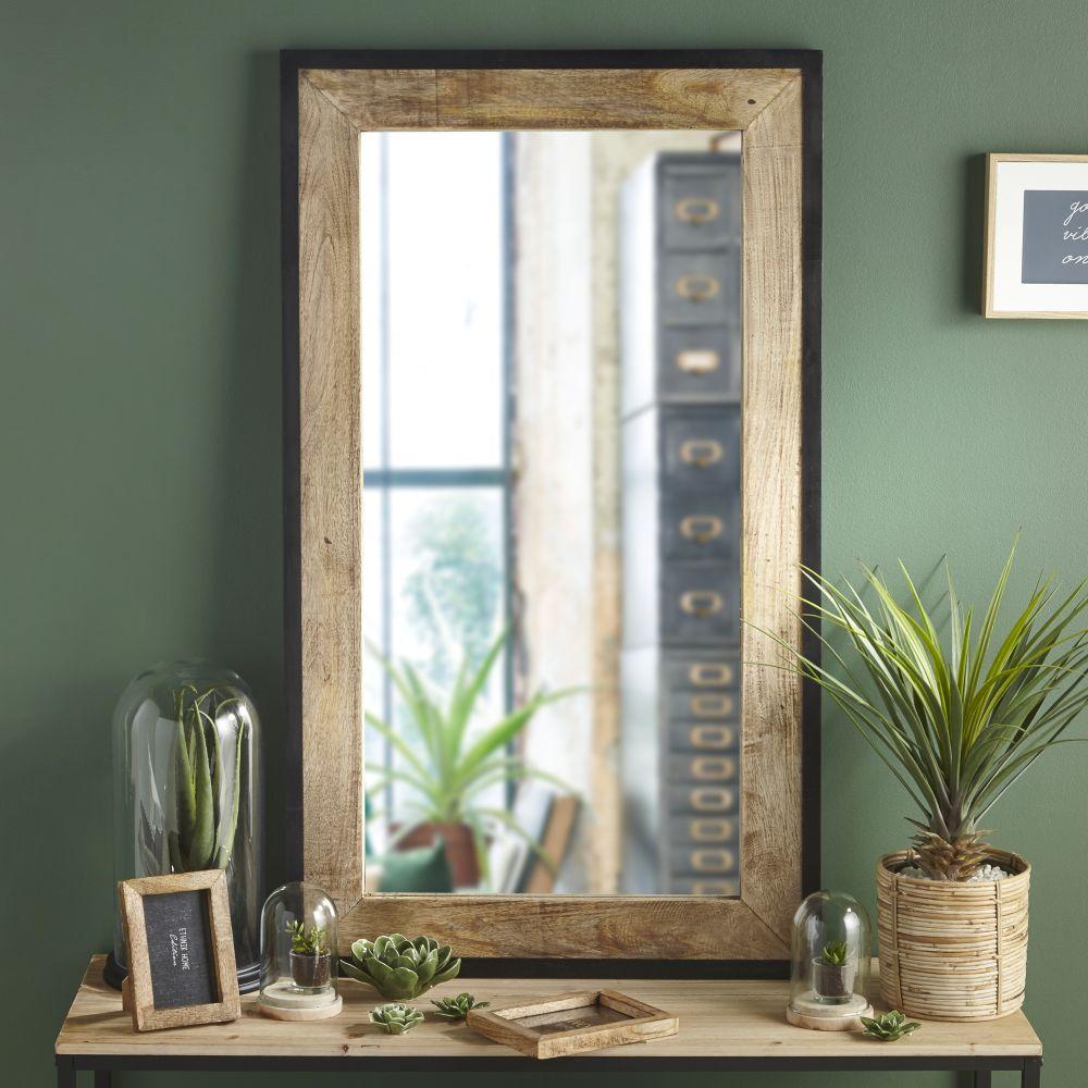 Miroir en manguier et métal noir 70x120