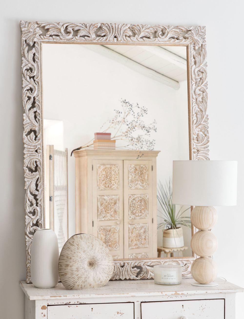 Miroir en manguier sculpté 90x120