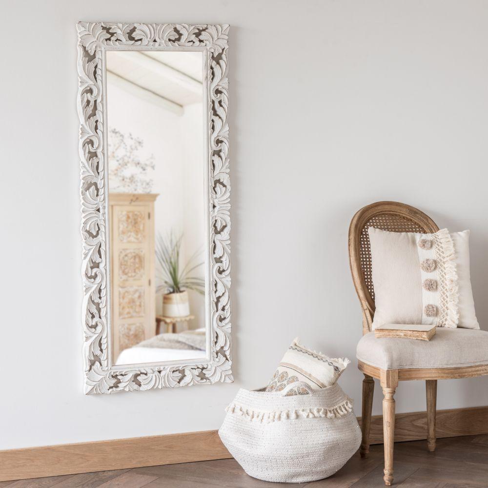 Miroir en manguier sculpté blanc 54x130