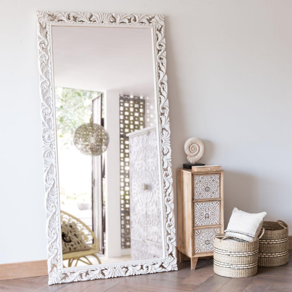 Miroir en manguier sculpté blanc 90x180