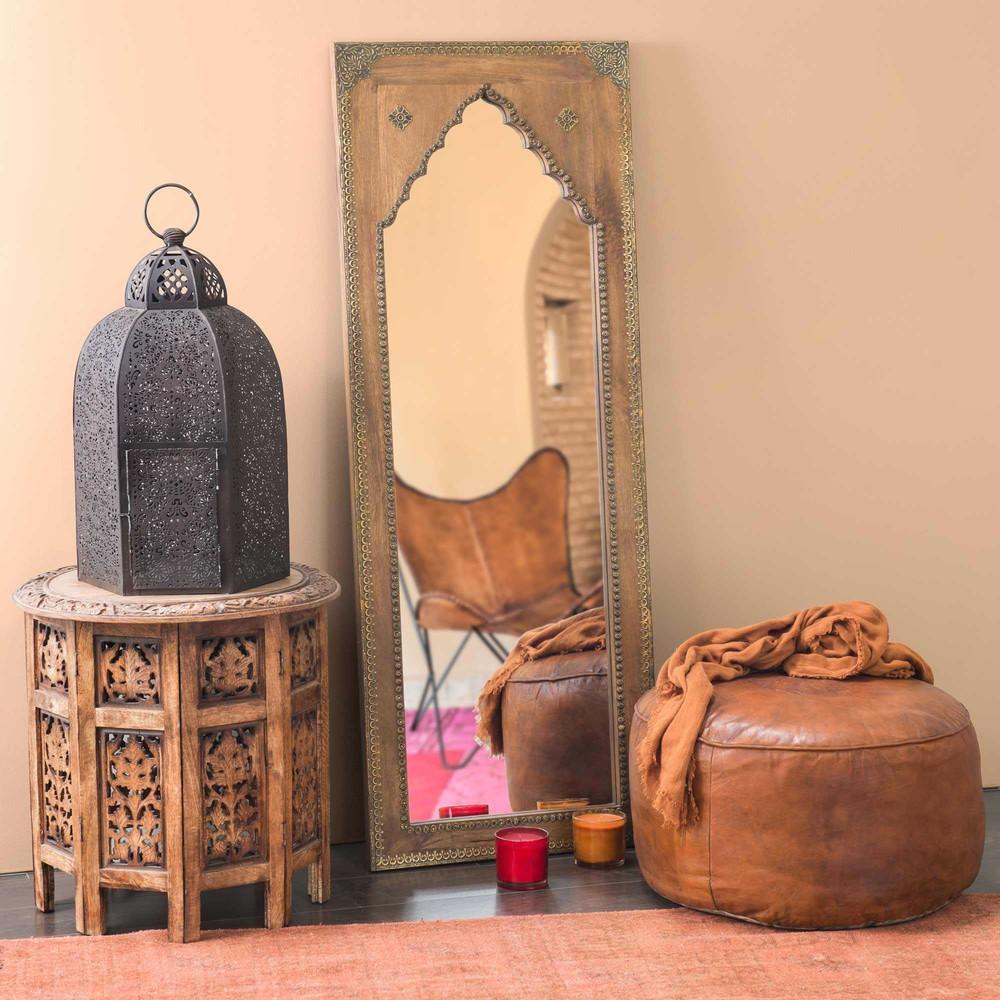 Miroir en manguier sculpté et métal 45x122