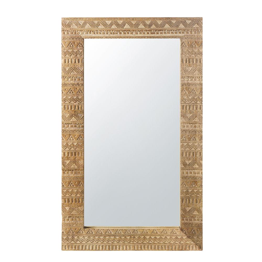 Miroir en manguier sculpté finition dorée 71x122