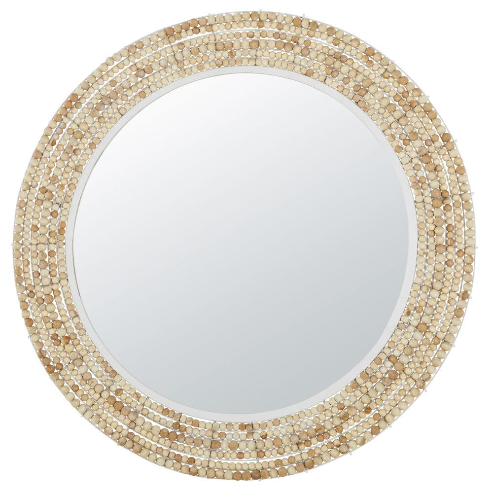 Miroir en métal blanc et perles en manguier D100