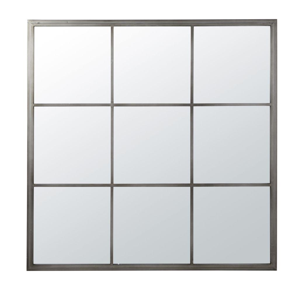 Miroir en métal brossé 110x110