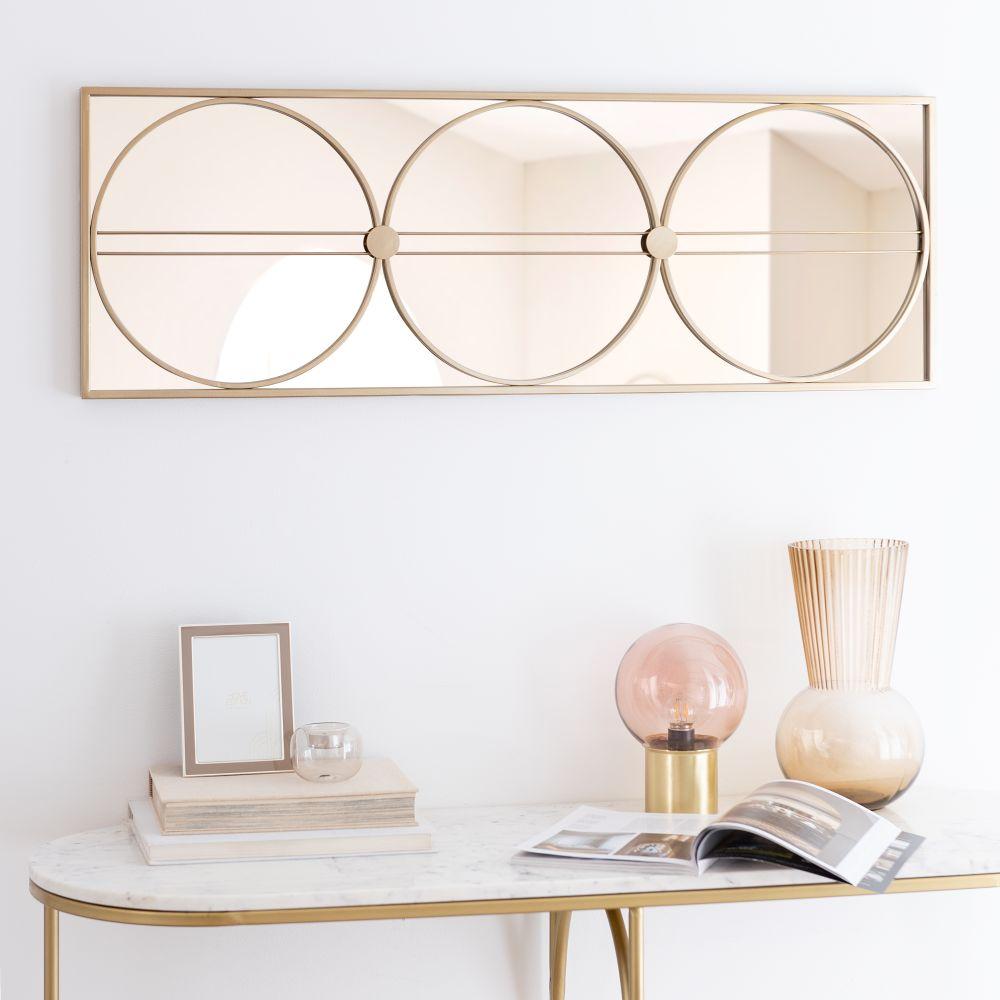 Miroir en métal doré 100x35