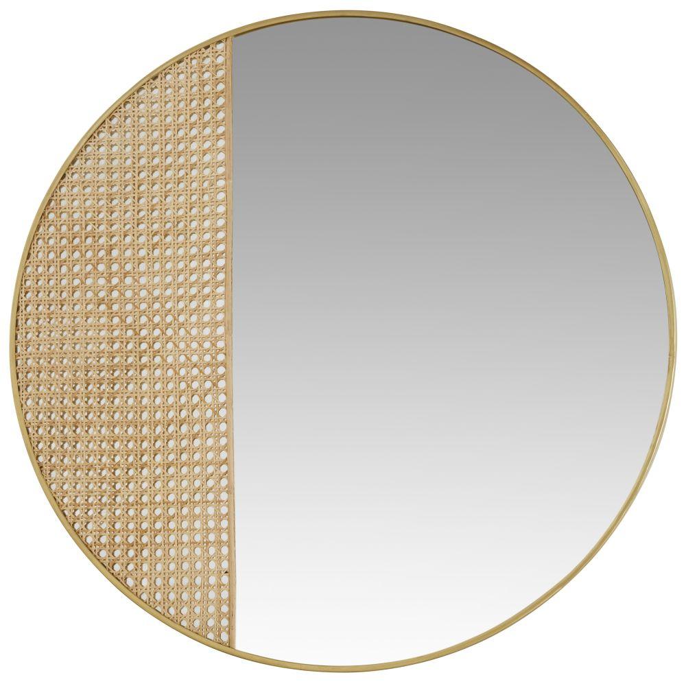 Miroir en métal doré cannage en rotin D91