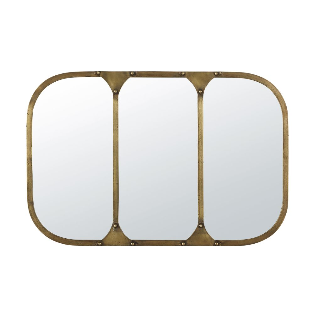 Miroir en métal doré effet vieilli 91x61