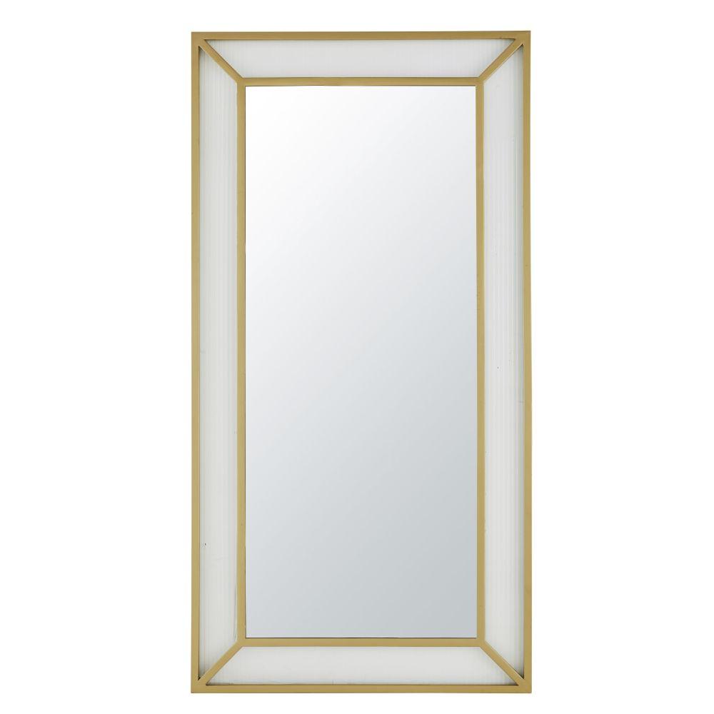 Miroir en métal doré et verre strié 88x170