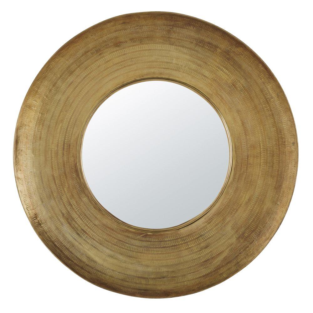 Miroir en métal martelé doré D110