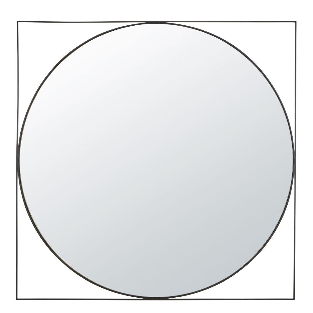 Miroir en métal noir 100x100
