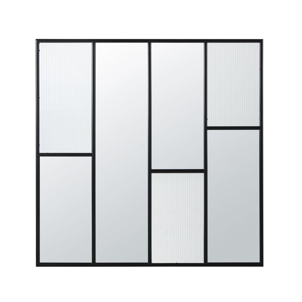 Miroir en métal noir et verre strié 120x120
