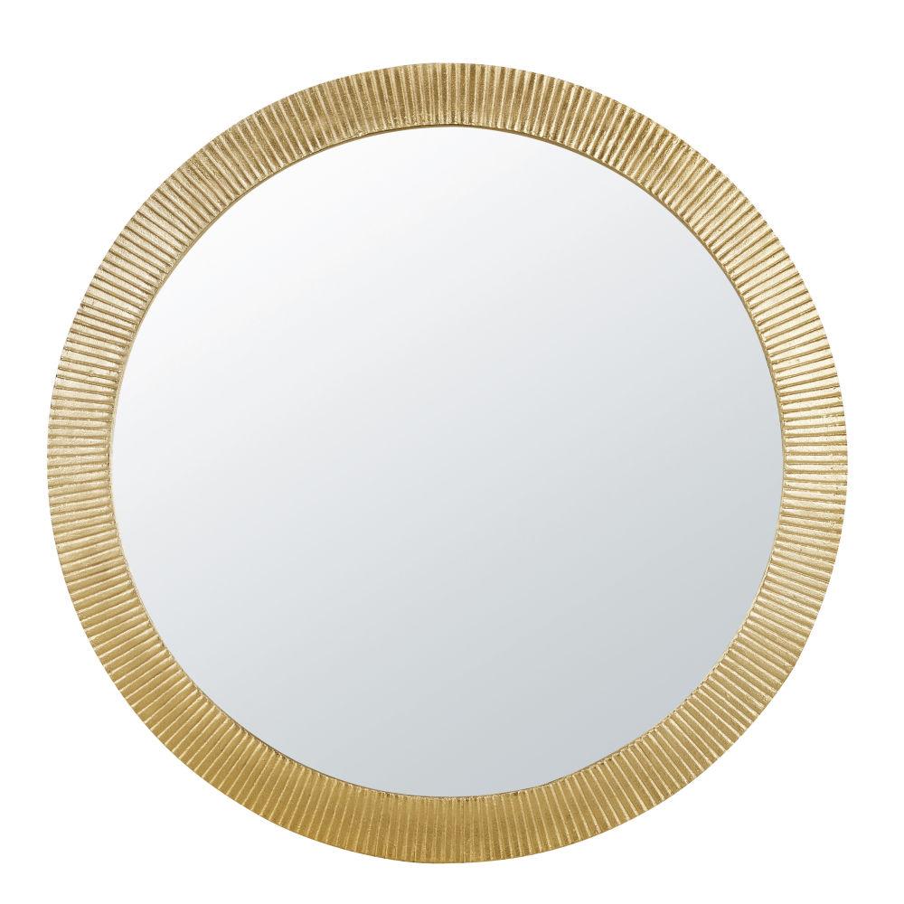 Miroir en métal strié doré D100
