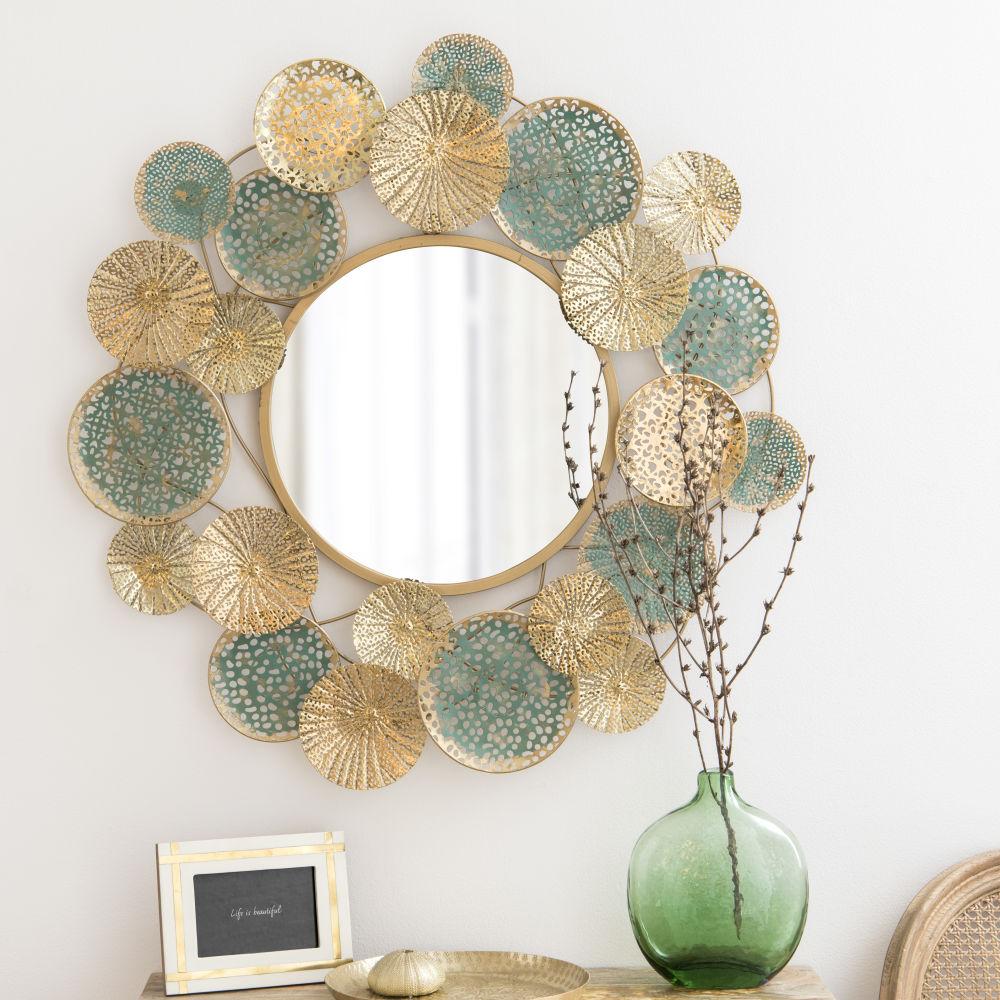 Miroir en métal turquoise et doré D83