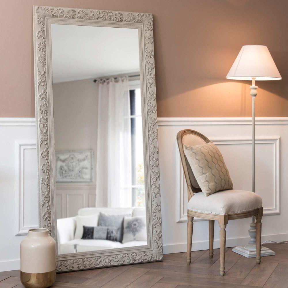 Miroir en paulownia beige grisé 90x180