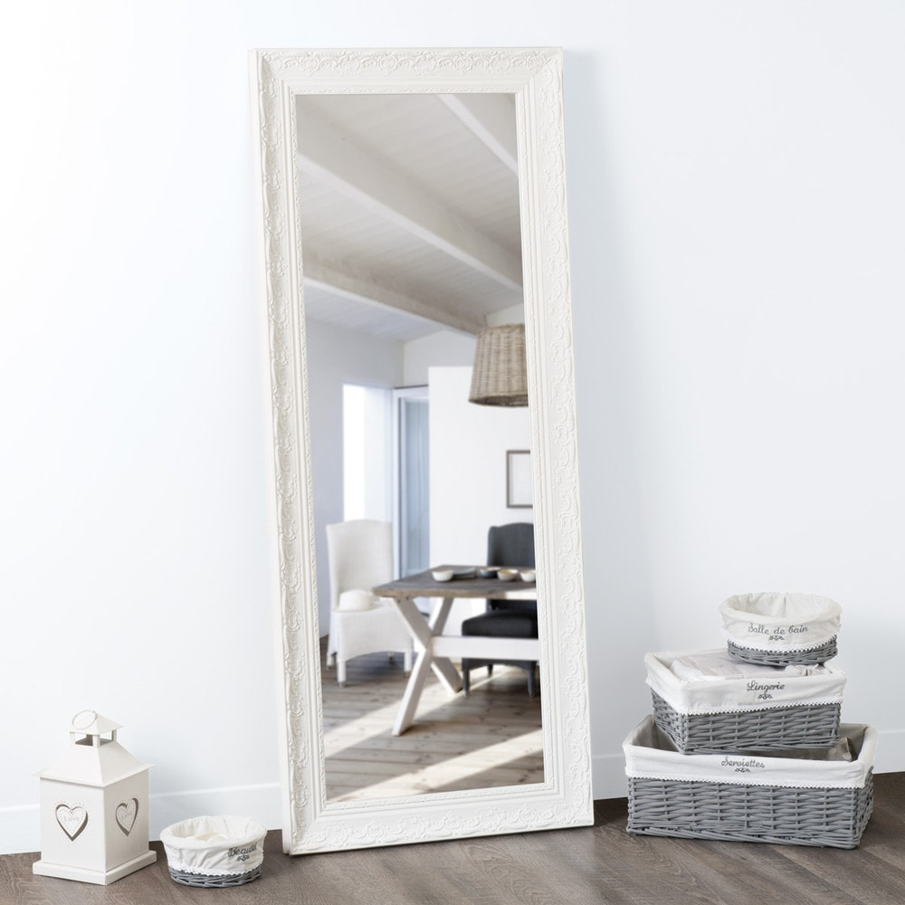 Miroir en paulownia blanc 145x59