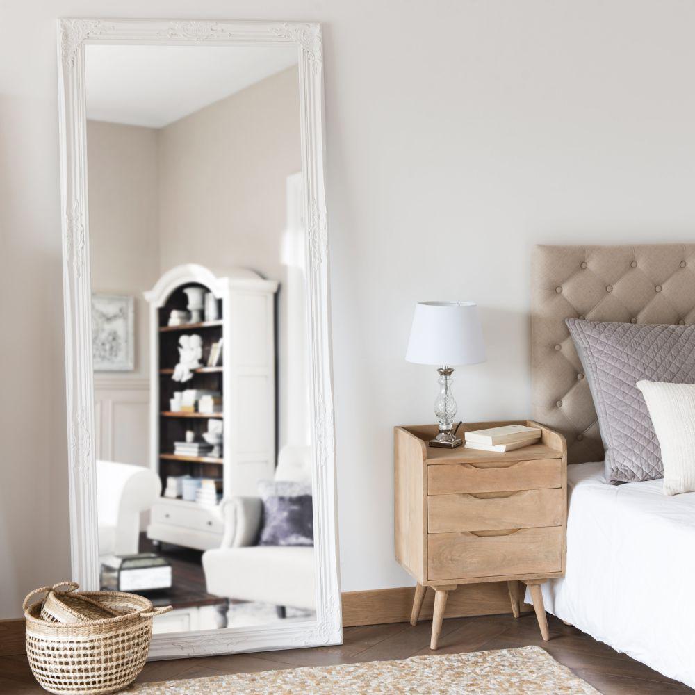 Miroir en paulownia blanc 80x190