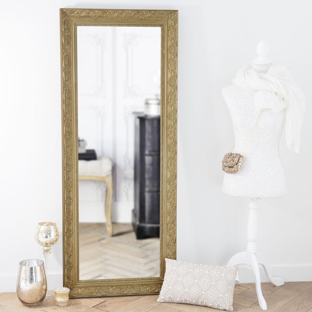 Miroir en paulownia doré 59x145