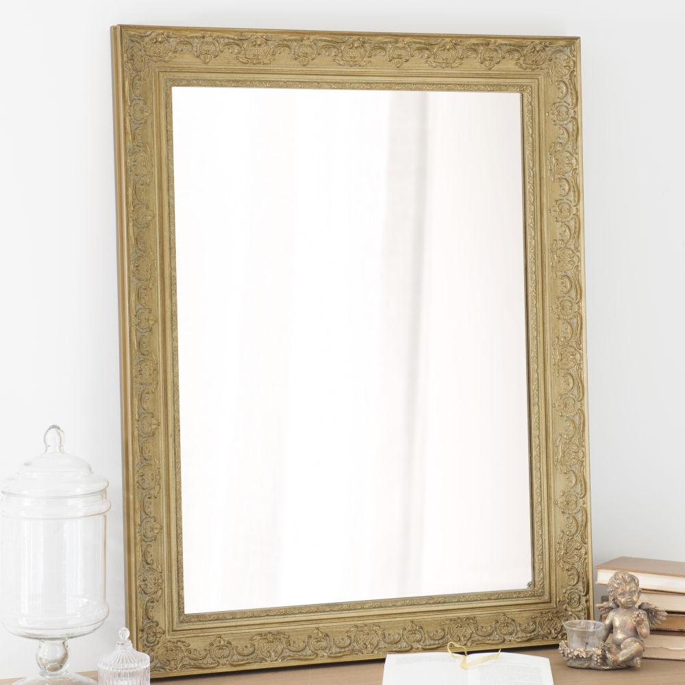 Miroir en paulownia doré 70x90