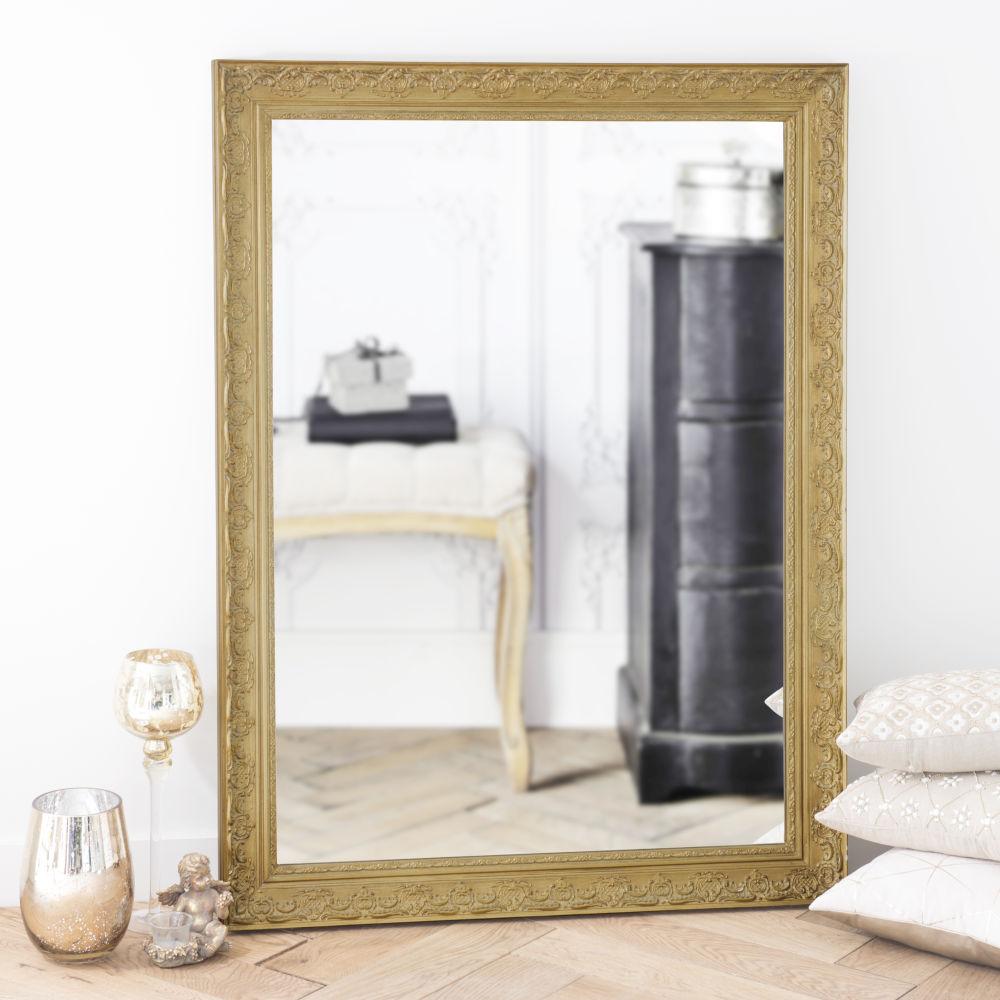 Miroir en paulownia doré 90x120
