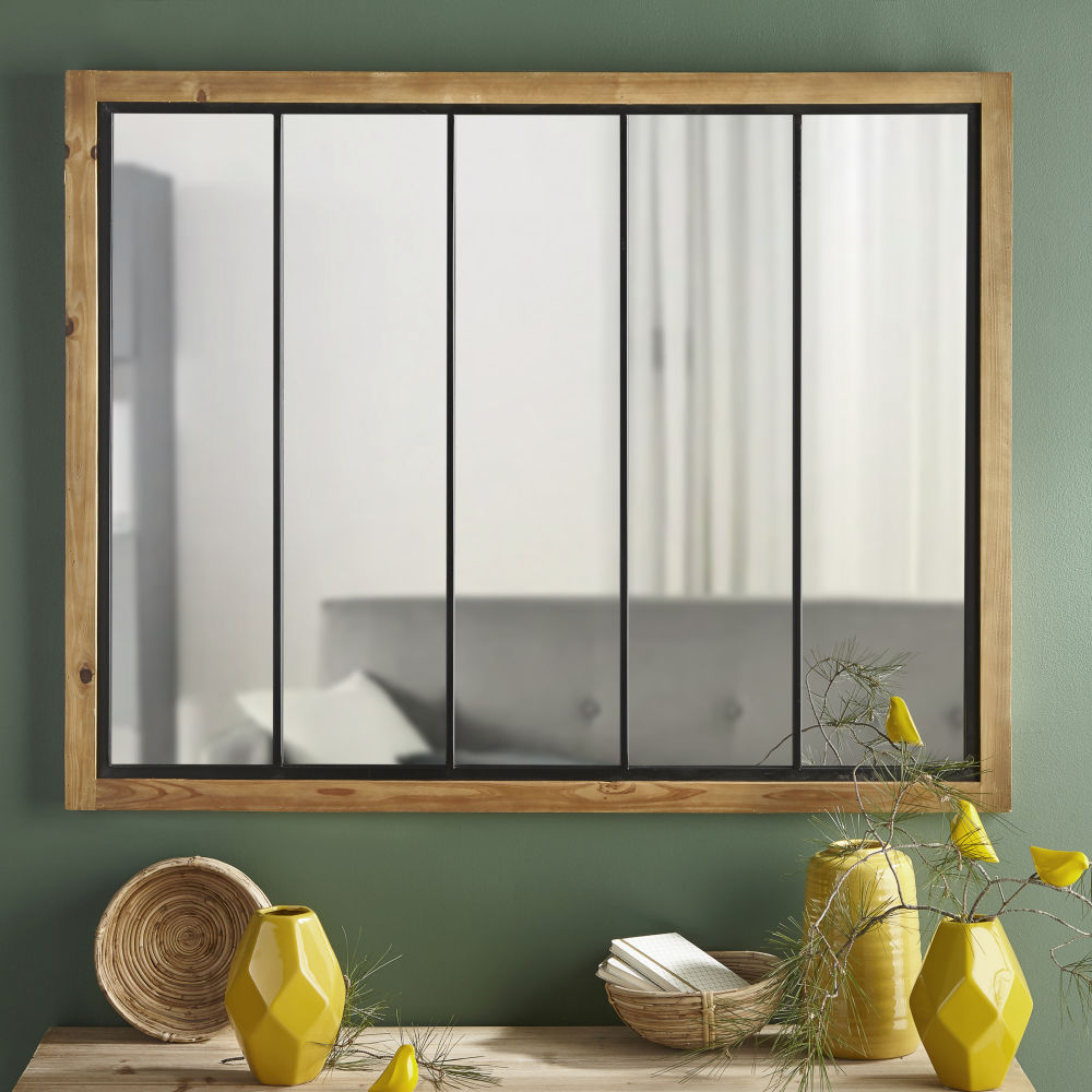 Miroir en pin et métal noir 120x95