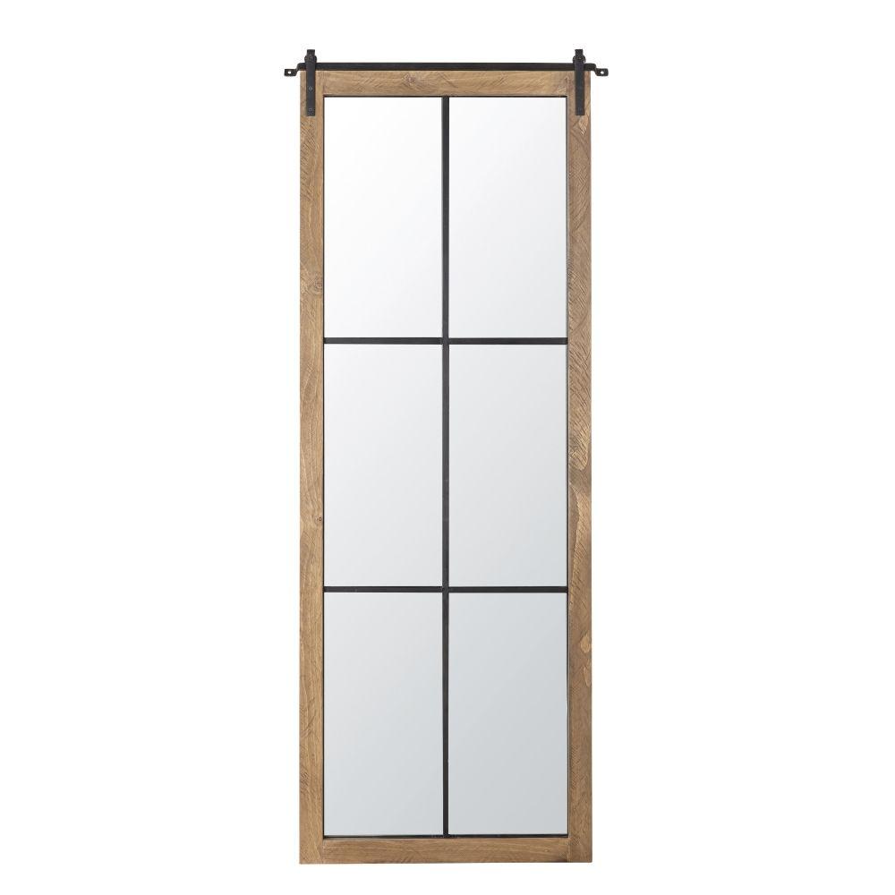 Miroir en pin et métal noir effet vieilli 74x180