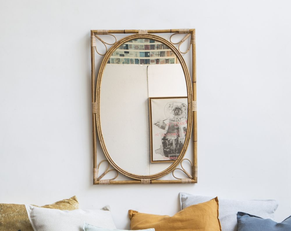 Miroir en rotin 61x90