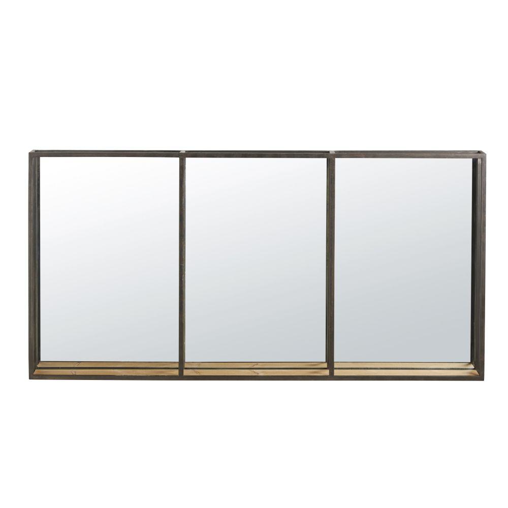 Miroir étagère triptyque en métal noir 120x60