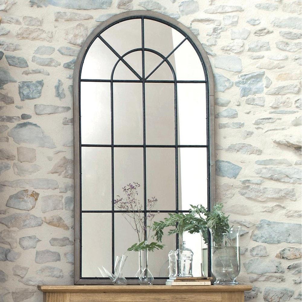 Miroir fenêtre demi-lune en sapin 76x146