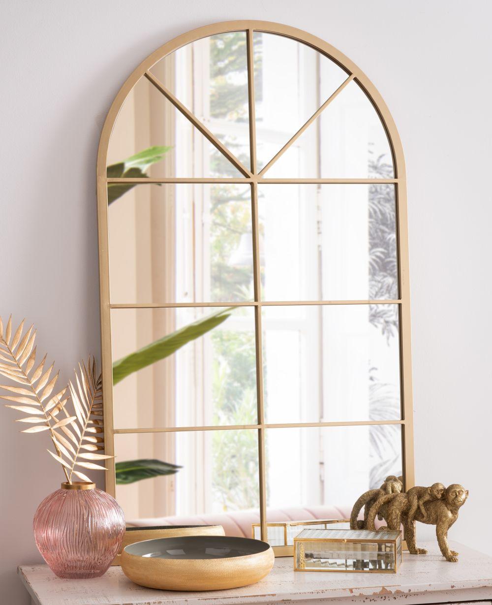 Miroir fenêtre en métal doré 65x110