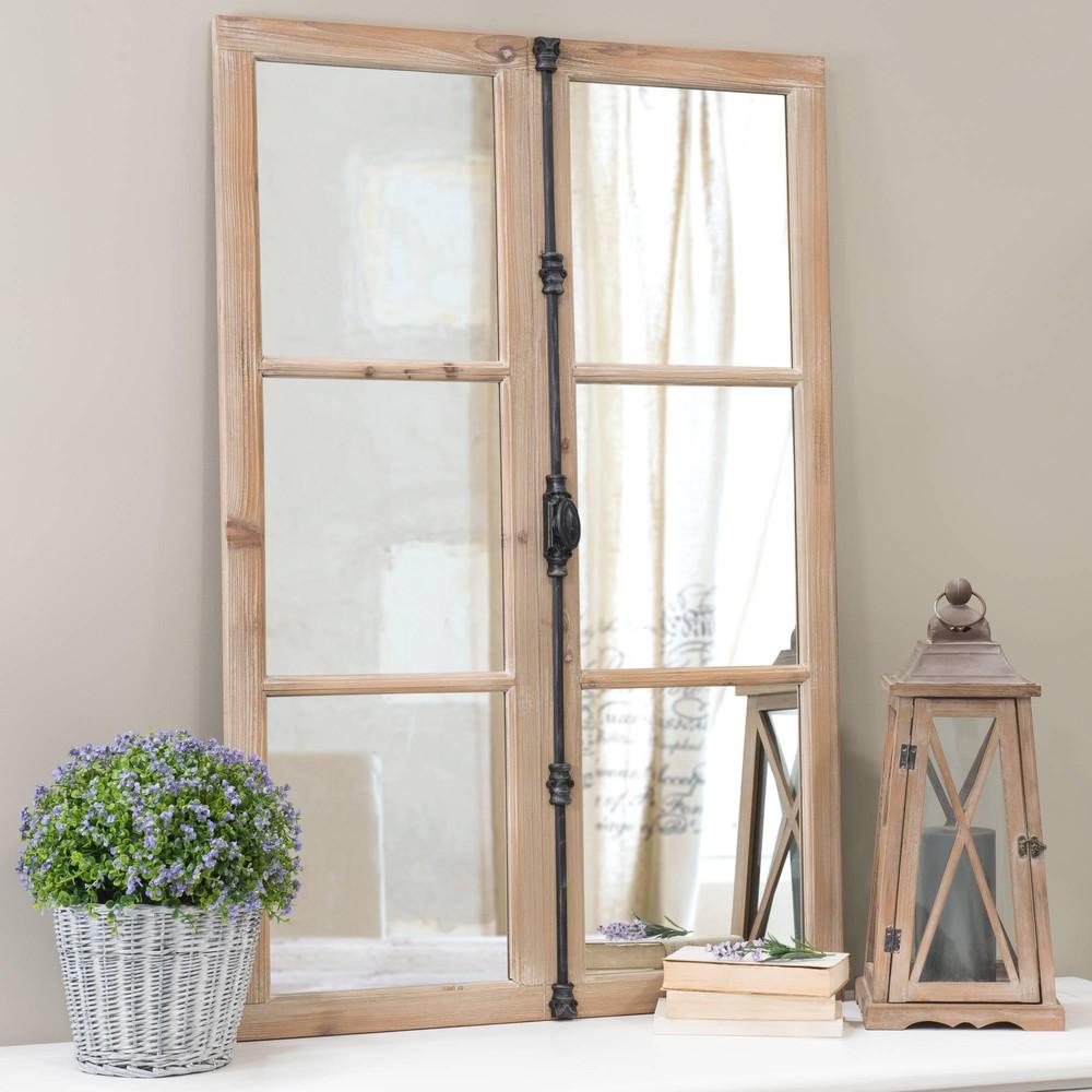 Miroir fenêtre en sapin et métal noir 80x120