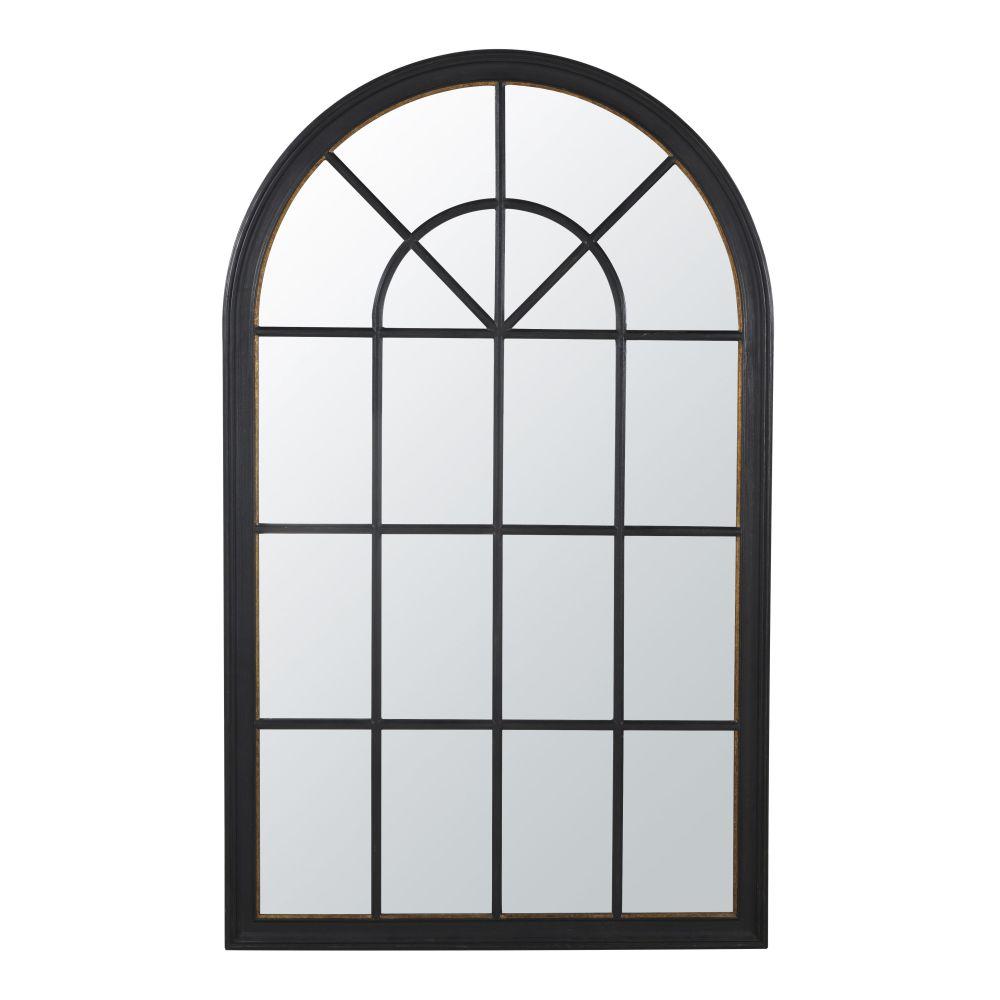 Miroir orangerie en paulownia à moulures noir et doré 110x181