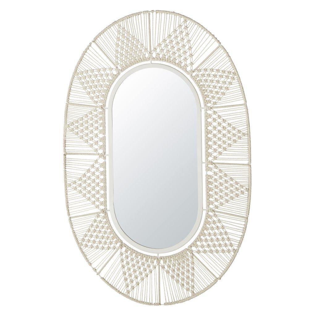 Miroir ovale en macramé blanc 69x105