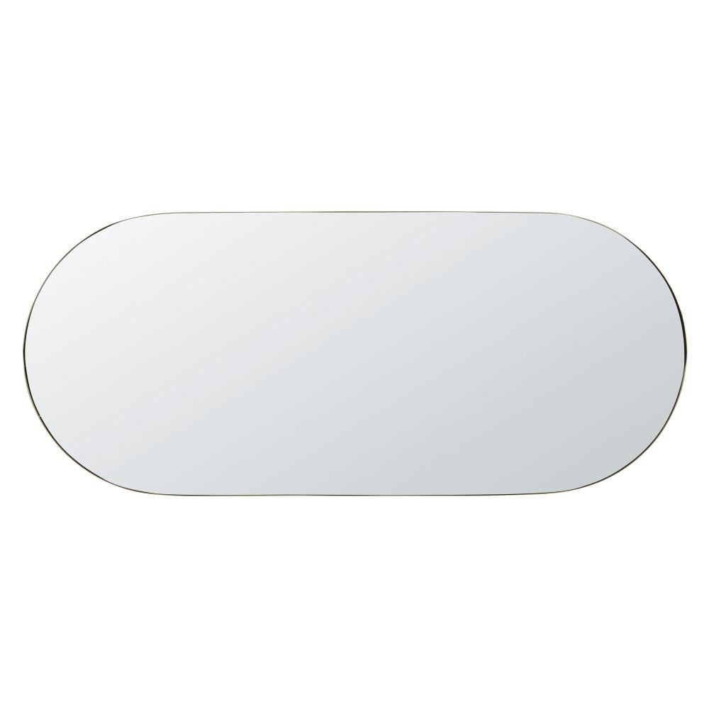 Miroir ovale en métal doré 51x118