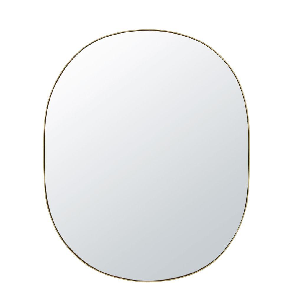 Miroir ovale en métal doré 91x111