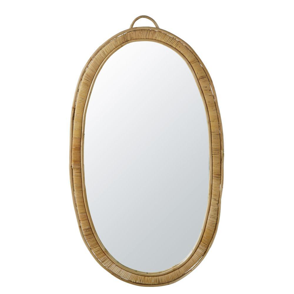 Miroir ovale en rotin 63x113