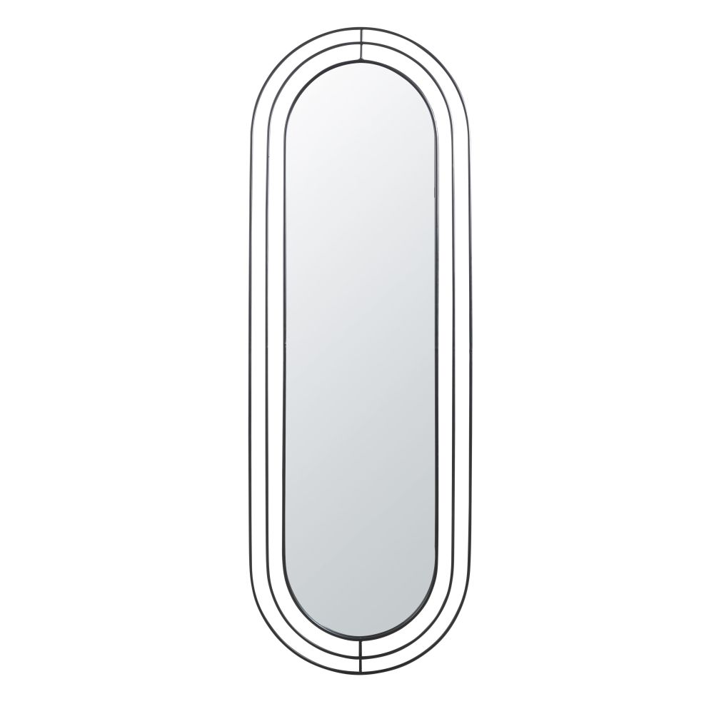 Miroir ovale filaire en métal noir 54x158